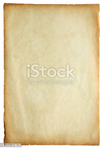 891131294istockphoto Old vintage paper sheet texture isolated on white background 1153753626
