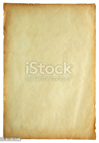 891131294istockphoto Old vintage paper sheet texture isolated on white background 1161067346
