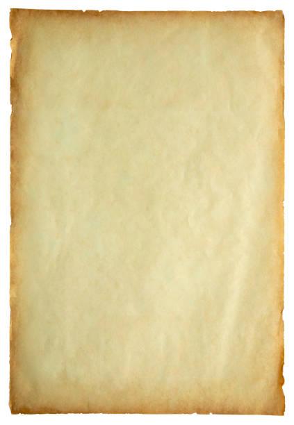 Alte Vintage Papier Blatt Textur isoliert auf weißem Hintergrund – Foto