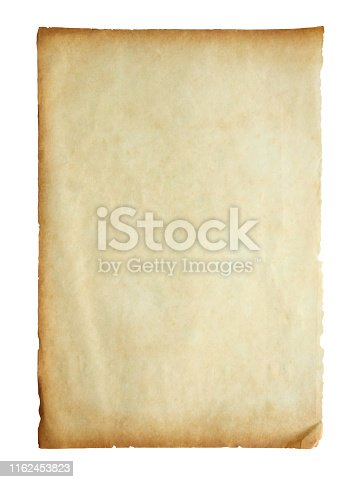 891131294istockphoto Old vintage paper sheet texture isolated on white background 1162453823