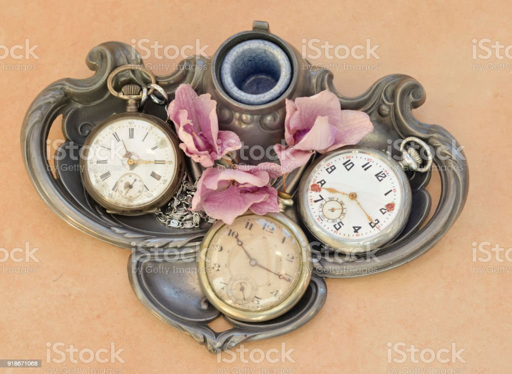 Old vintage pocket antique clock stock photo
