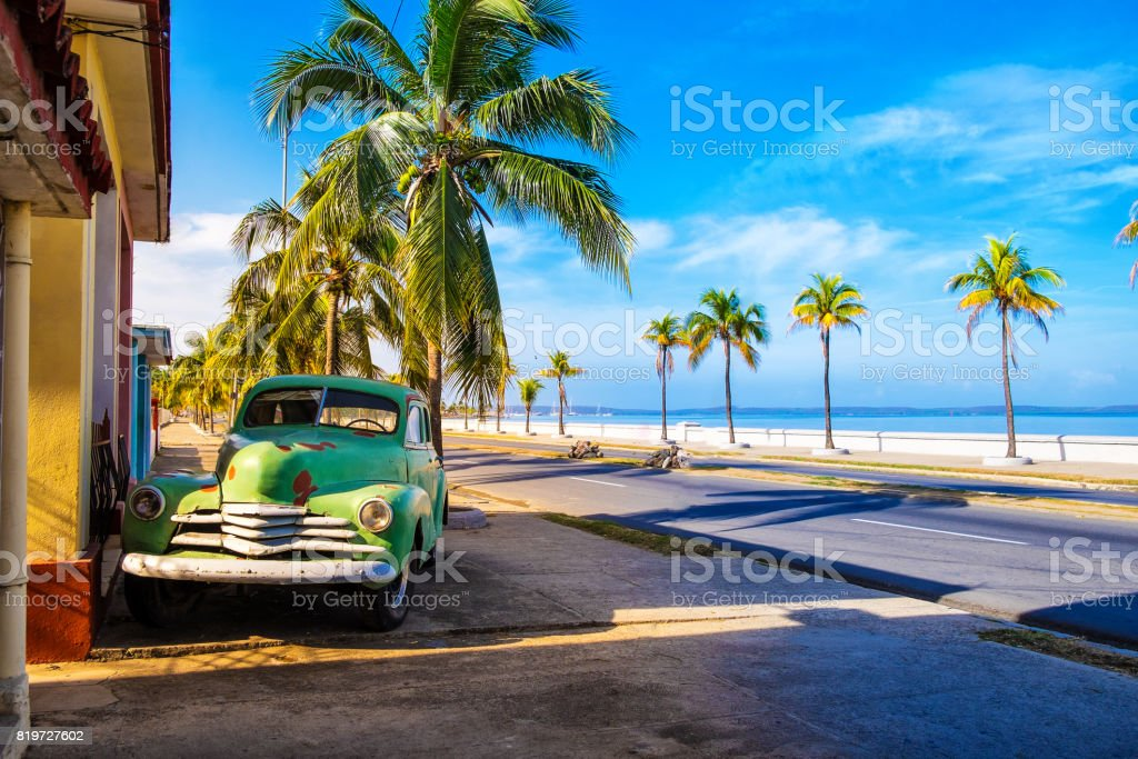 Old Vintage red American car in Cuba stock photo
