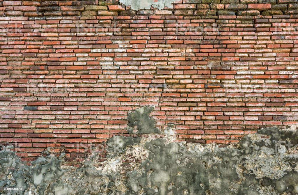 Old Vintage Red Brick Wall With Sprinkled White Plaster   Texture Background stock photo