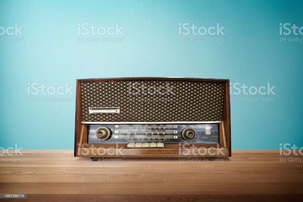 Old vintage retro broadcast radio stock photo