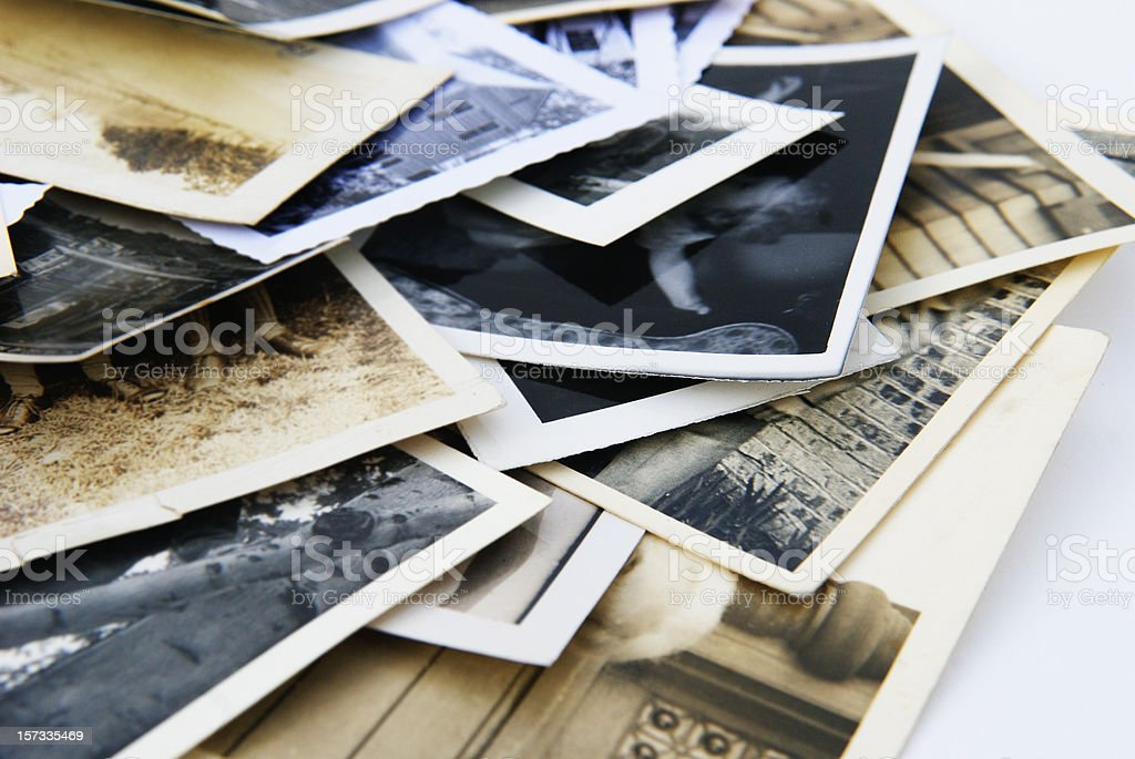 Old Vintage Retro Candid Photographs in a Pile stock photo