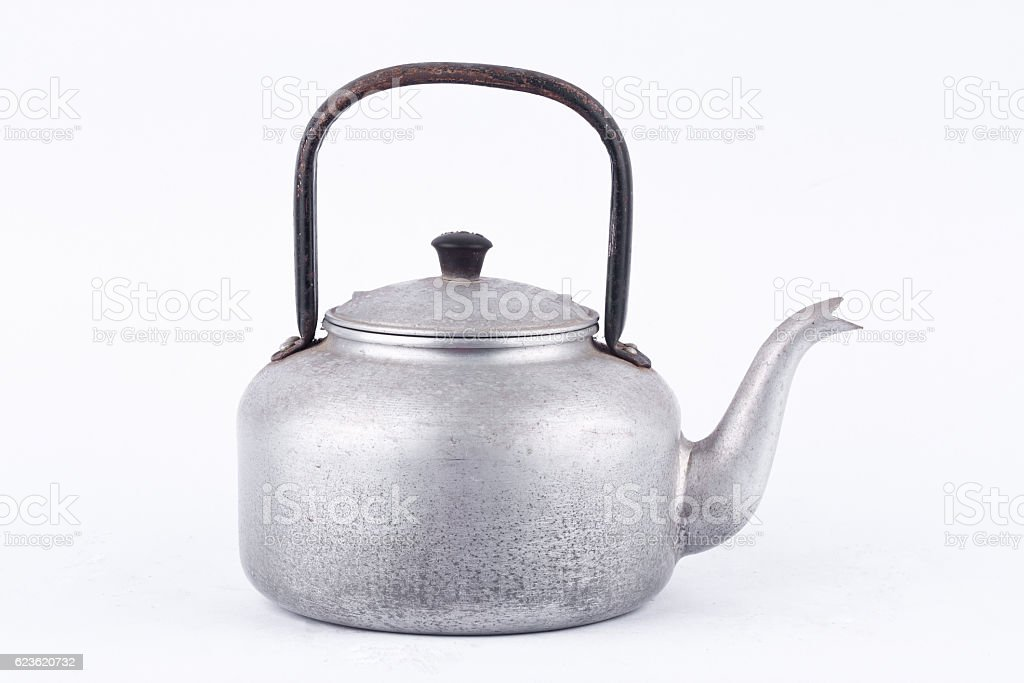old vintage retro Kettle , kettle made of aluminum materials. stock photo