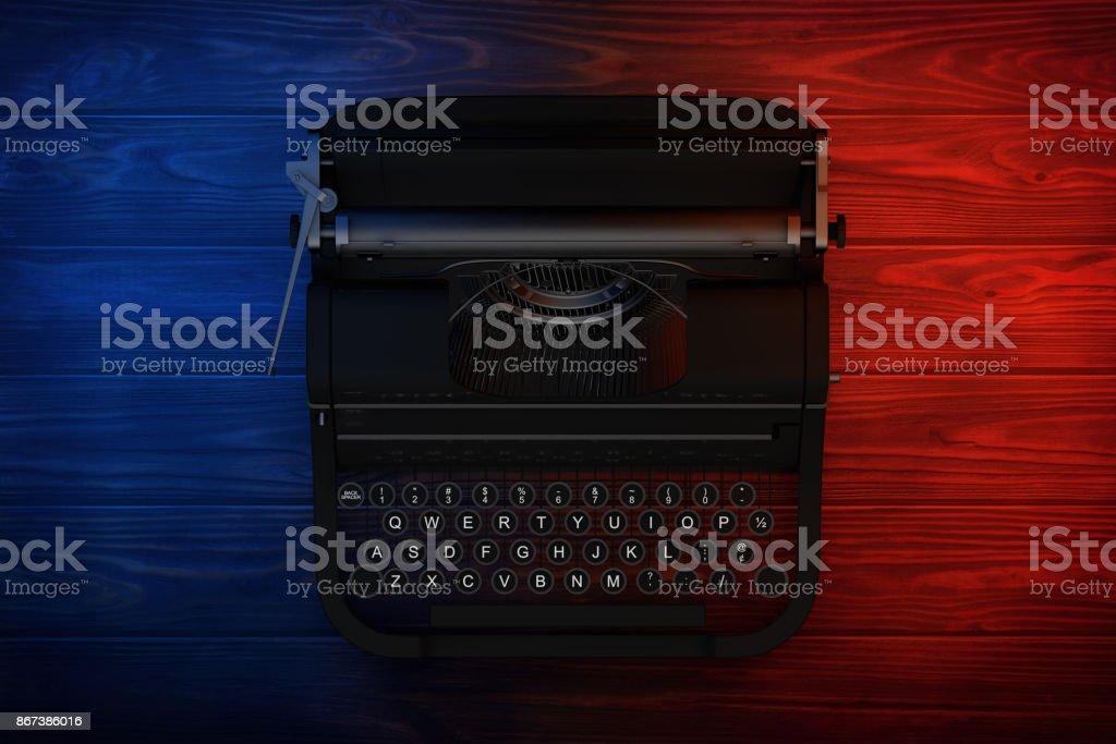 Old Vintage Retro Typewriter in Color Lights. 3d Rendering stock photo