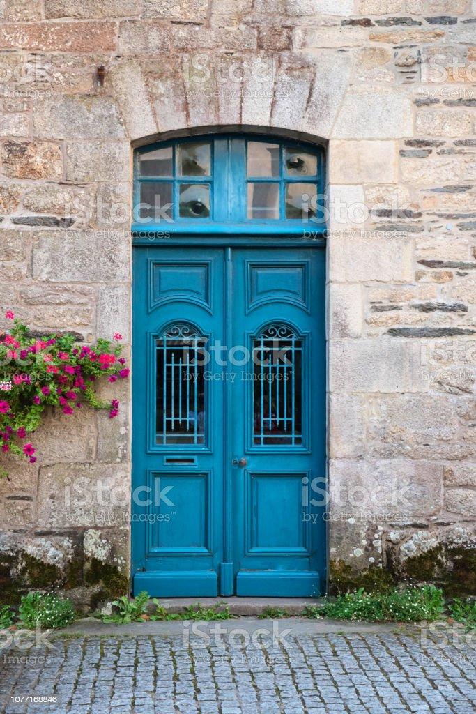 Puertas De Madera Rusticas Vintage Antiguo Pintaron En Azul Foto De