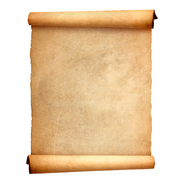 old vintage scroll isolated on white background - scroll stock photos and pictures