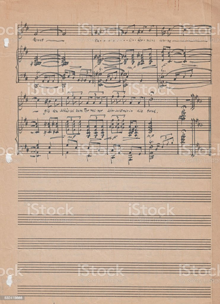 Old Vintage Sheet Music Stock Photo - Download Image Now