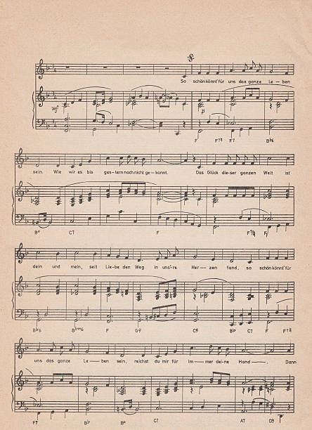 Old vintage sheet music old sheet music - scanned from a 150 year old partiture sheet music stock pictures, royalty-free photos & images