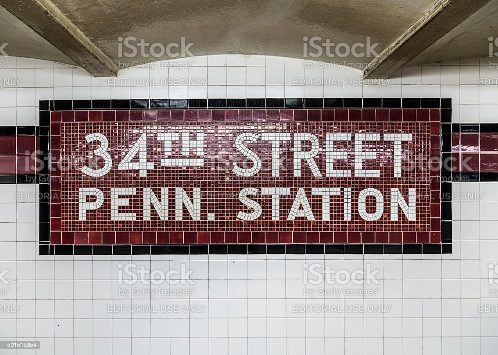 old vintage sign  at the 34th Street Pennsylvania St stock photo