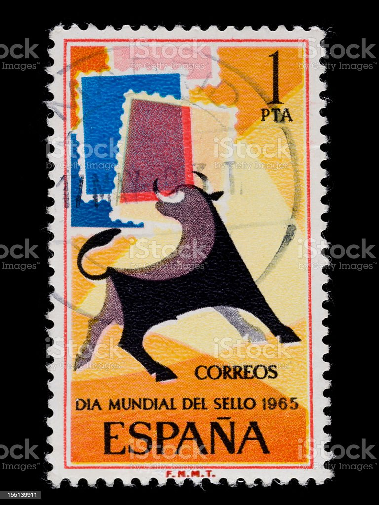 Old vintage Spanish stamp from 1965 royalty-free stock photo