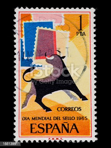 Old Spanish stamp of 1965, representing the figure of a bull