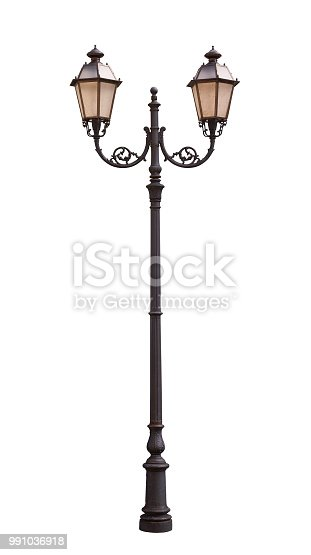 Old, vintage street lamp isolated on white background