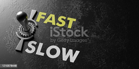 Fast slow concept. Retro electric control switch against old industrial black background, Fast slow text, copy space. 3d illustration