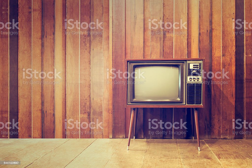 Old vintage television or tv stock photo