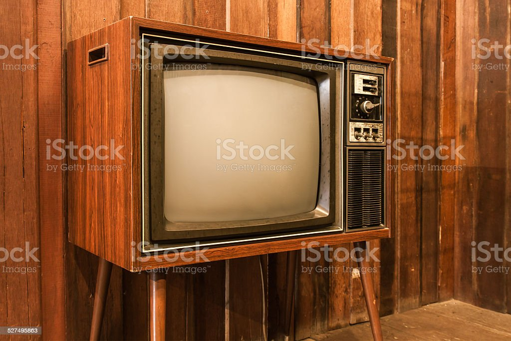 Old vintage television stock photo