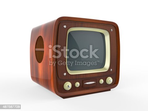 istock Old Vintage Television with Wooden Case 487587709