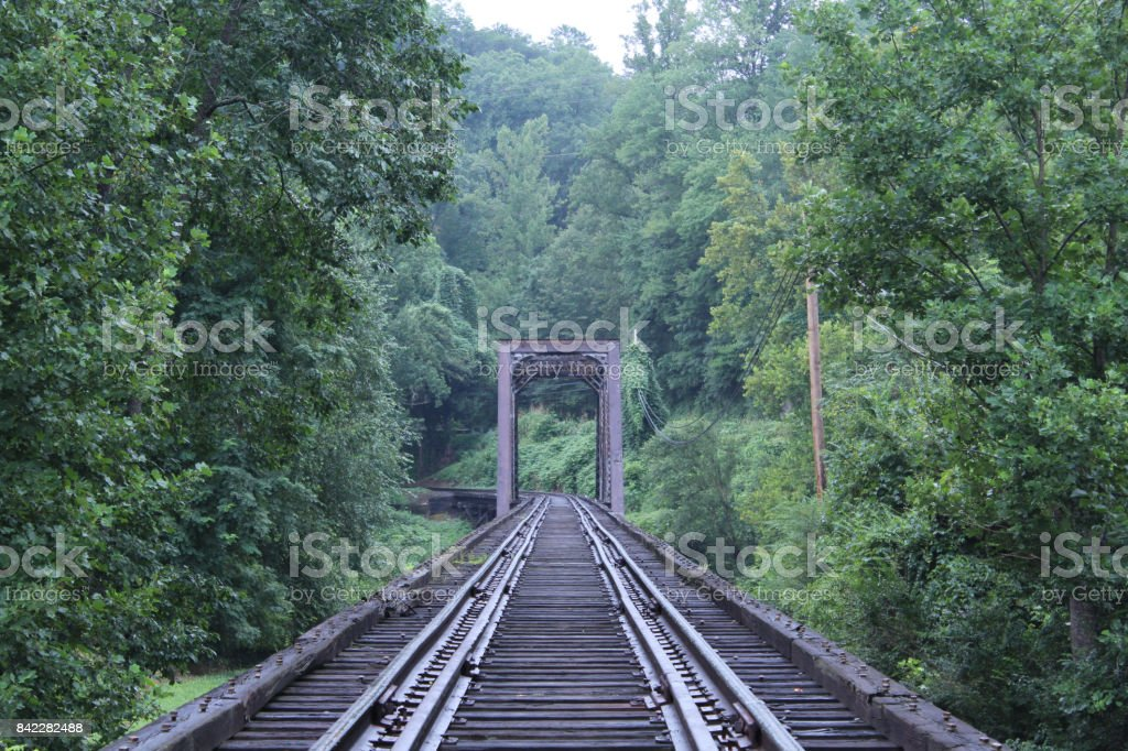 Old Vintage Train Tracks Made of Wood and Rusted Metal stock photo