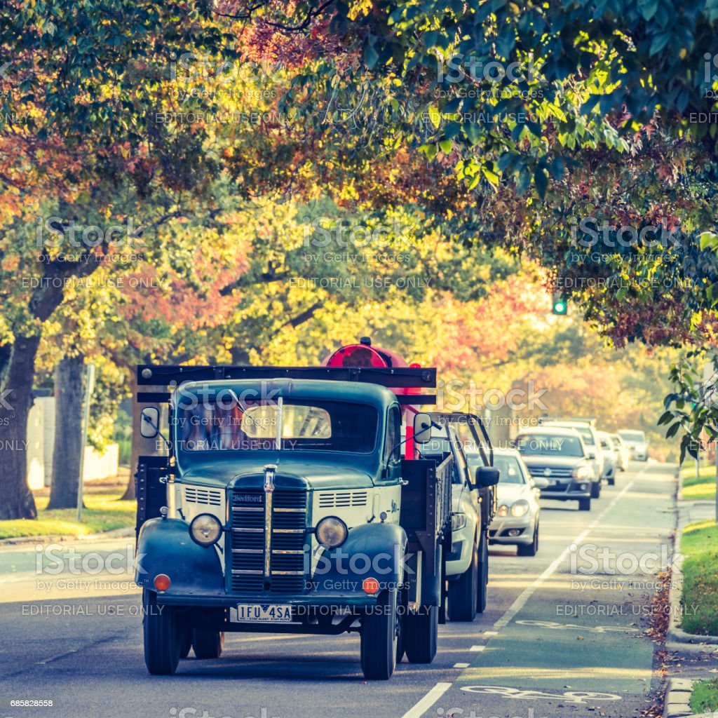 Old vintage truck in excellent condition with Autumn colors stock photo