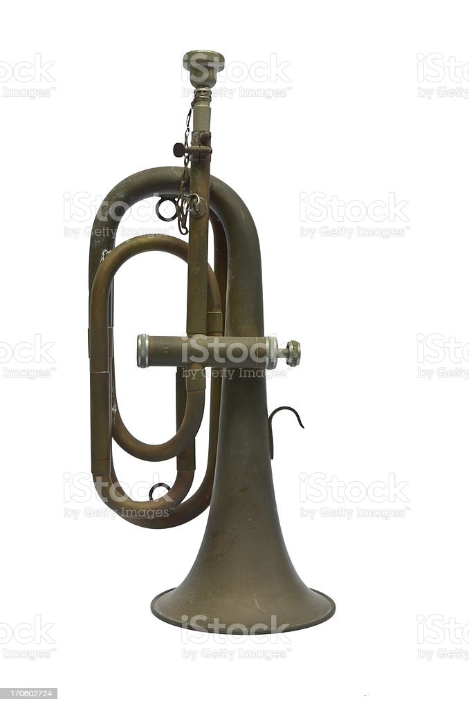 Old vintage trumpet isolated over white stock photo