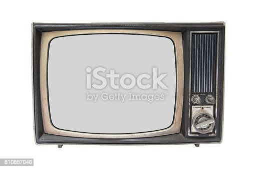 istock Old vintage TV isolated on white background.Old television isolated 810857046