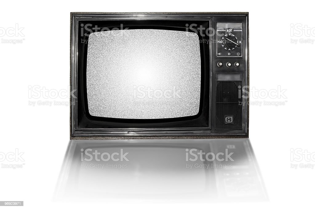 Old vintage TV over a white background royalty-free stock photo