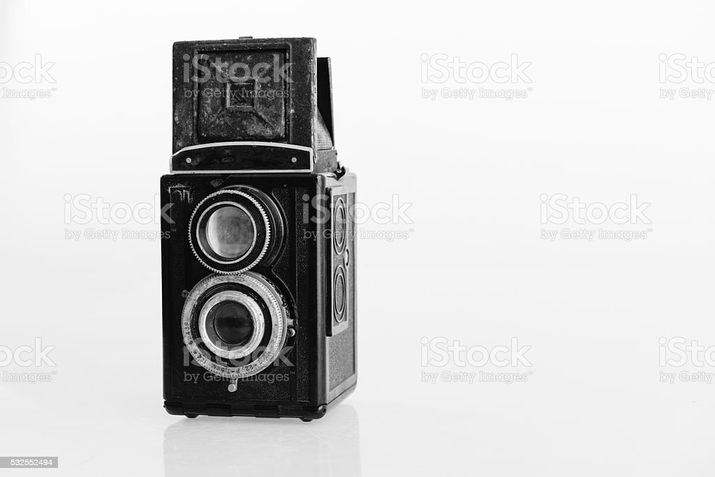 Old Vintage twin-lens reflex classic camera - close up stock photo