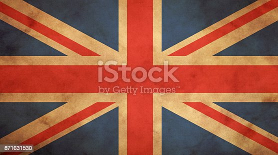 Old grunge vintage dirty faded UK Great Britain national flag over background of brown kraft paper parchment