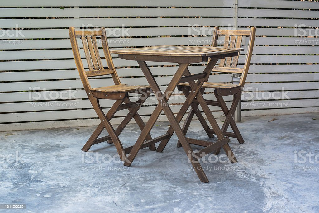 old vintage wooden chair and table royalty-free stock photo