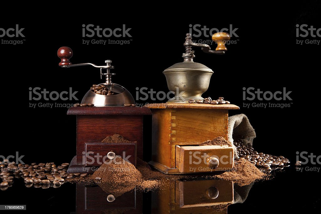 Old vintage wooden coffee mill. royalty-free stock photo