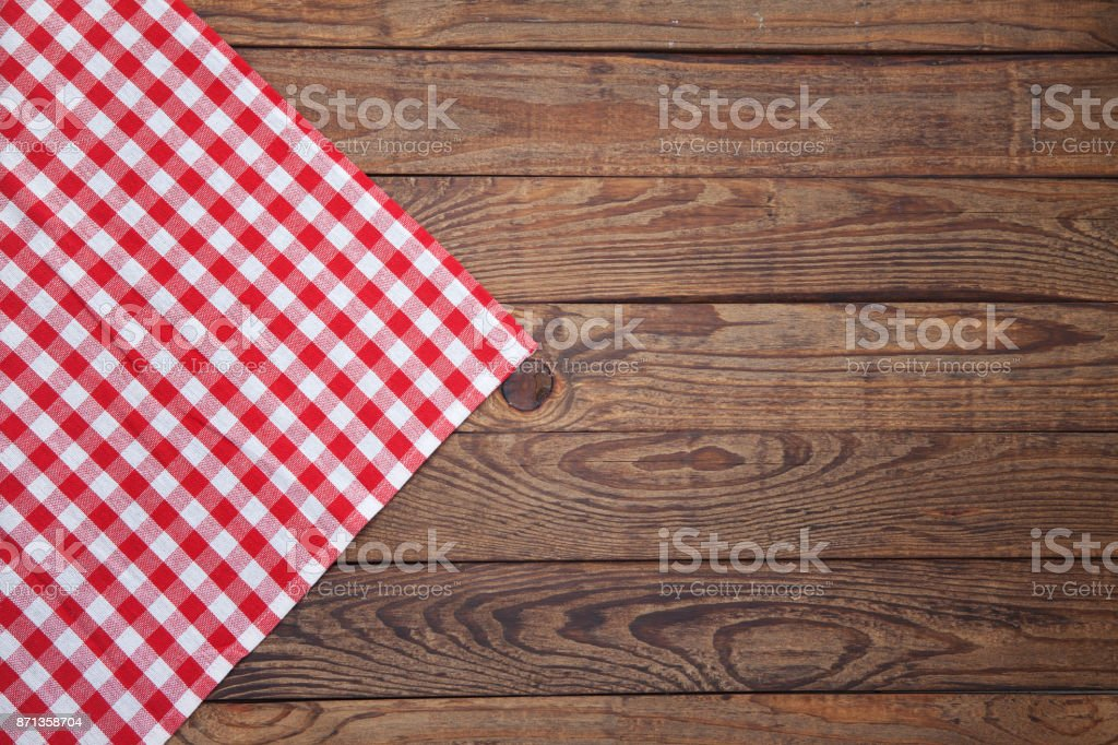 Old Vintage Wooden Table With A Red Checkered Tablecloth. Top View Mockup.  Royalty