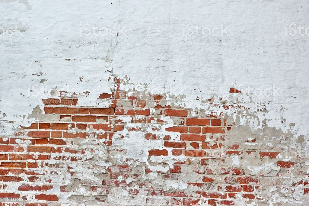 Old Vinyage Red Brick Wall With Sprinkled White Plaster Texture stock photo