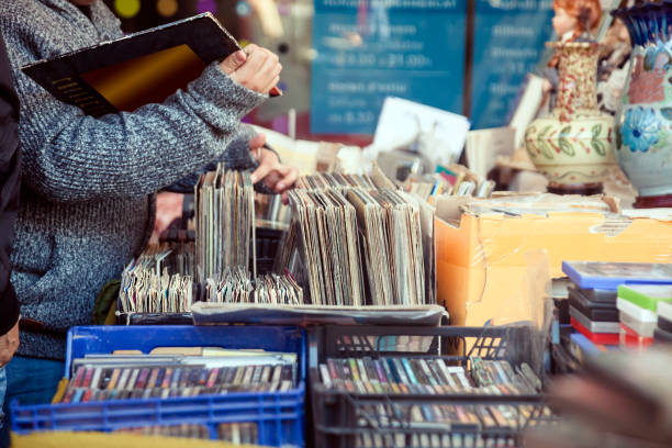 Old vinyl discs flea market stock photo