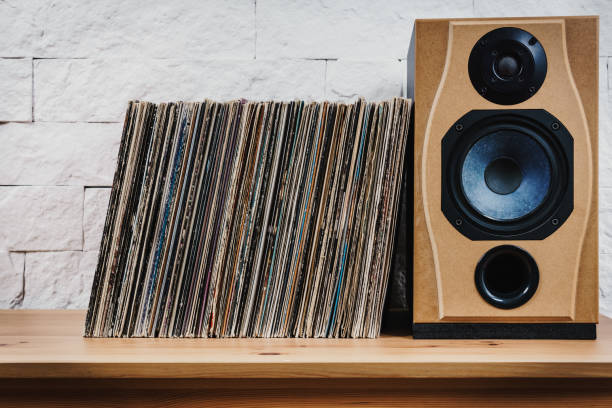Old Vinyl records in the wooden shelf