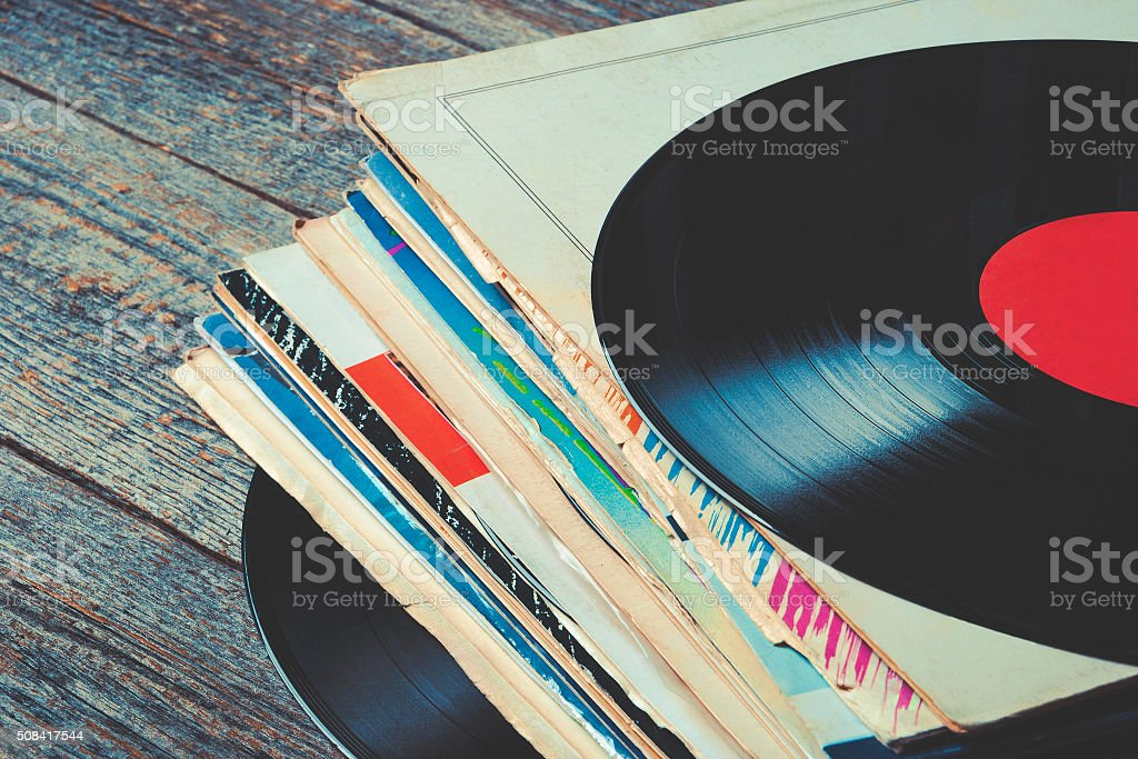 Old vinyl records stock photo