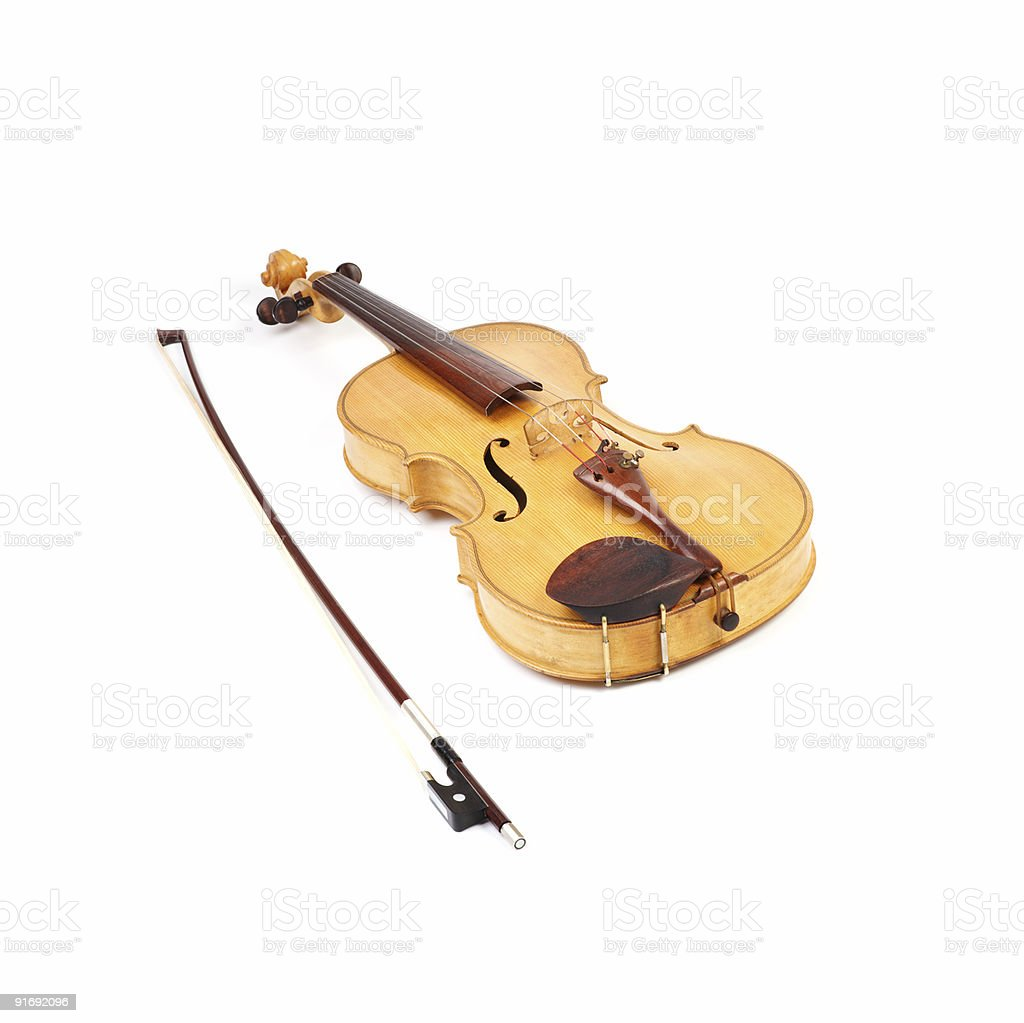 Old viola and a bow royalty-free stock photo