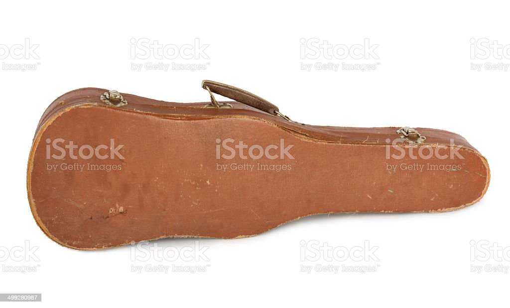 Old violin case with  bow on a white background isolated stock photo