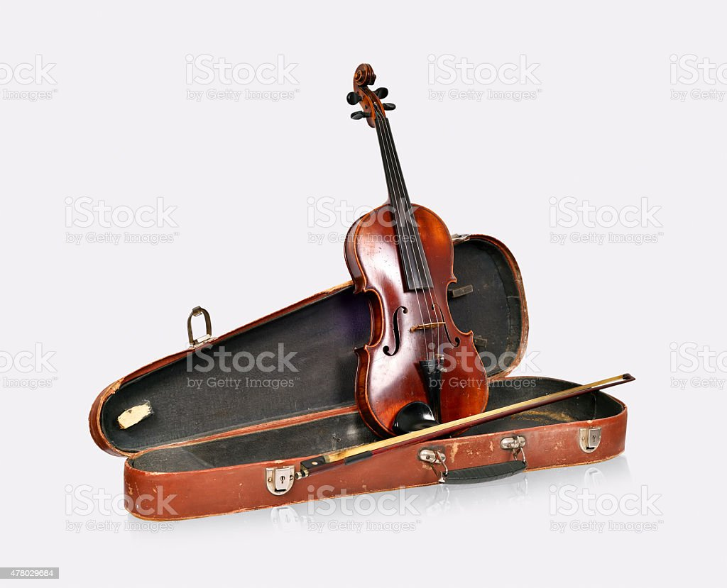 Old violin, case with bow stock photo