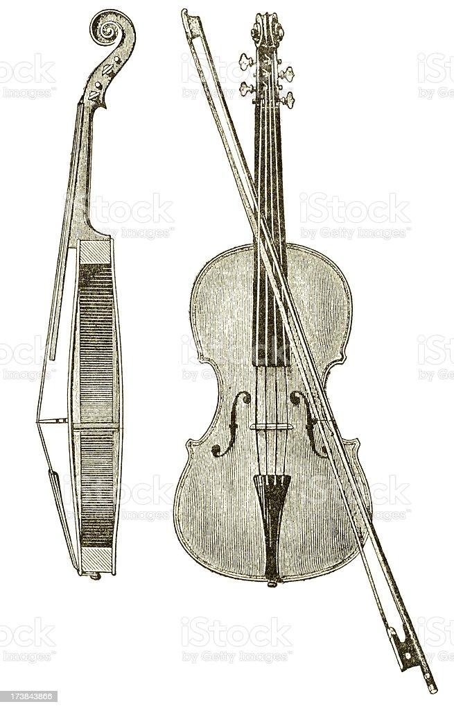 Old violin illustration stock photo