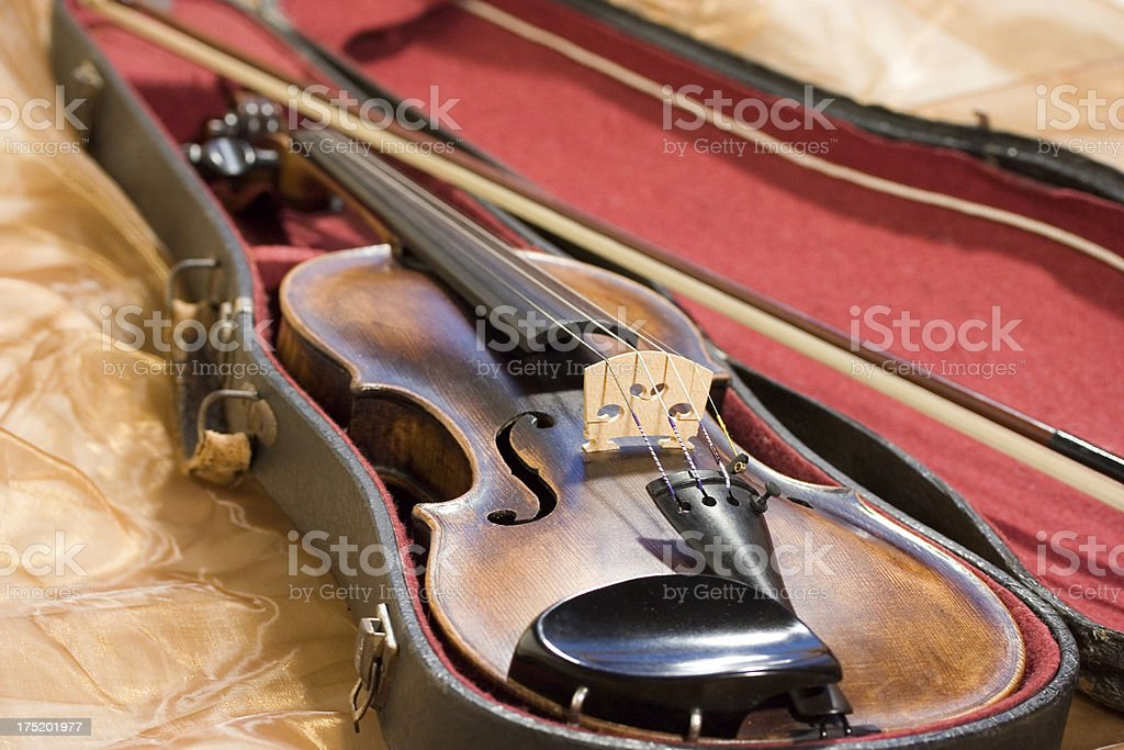 Old violin in a case stock photo