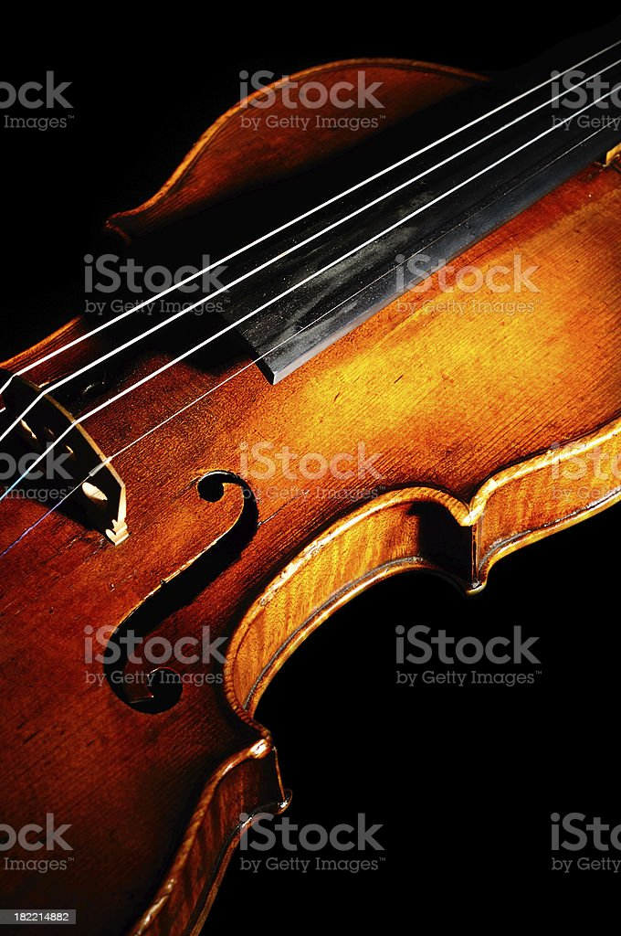 Old Violin on Black Background royalty-free stock photo