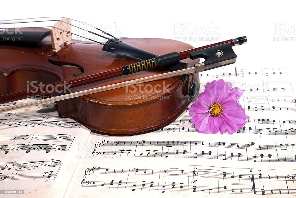 Old violin with notes. royalty-free stock photo