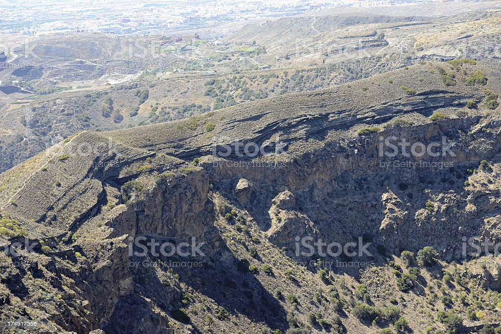 Old volcano Caldera de Bandama of Gran Canaria (Spain) stock photo