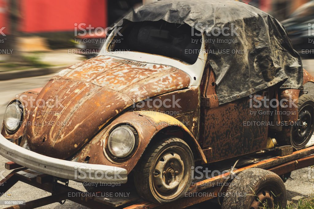 Old Volkswagen Beetle parked on the street stock photo