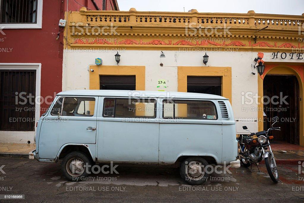 Old Volkswagen van in Chiapas, Mexico stock photo