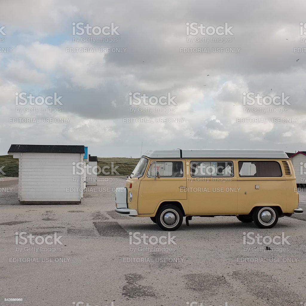 Old Volkswagen van near a beach in Holland stock photo