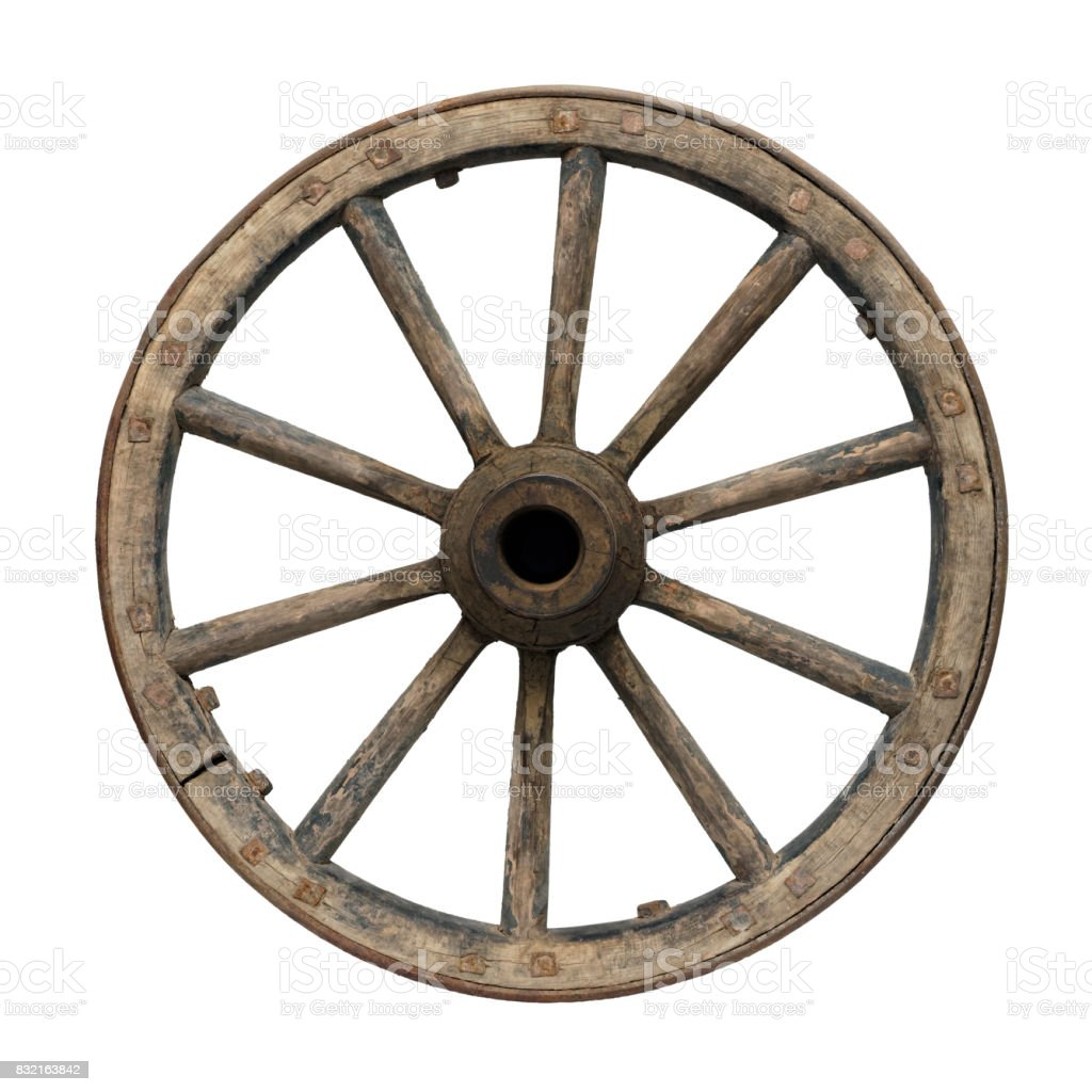 Old waggon wheel stock photo