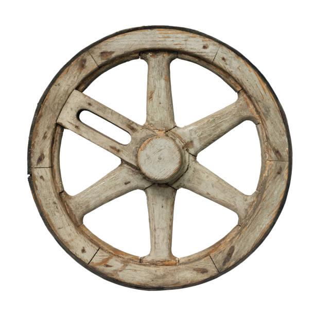 Old waggon wheel stock photo